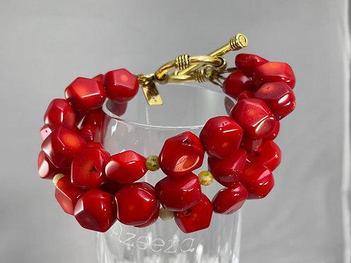 Triple Strand Red Coral Bracelet