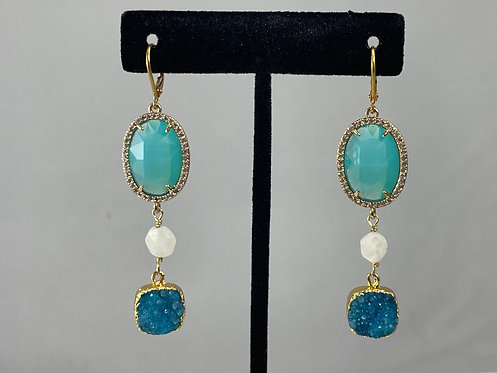Moonstone and Druzy Earrings