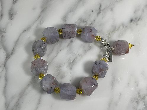 Lace Agate and Swarovski Bracelet
