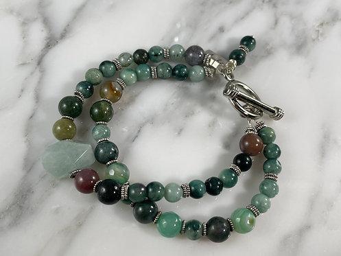 Moss Agate & Amazonite Double Strand Bracelet