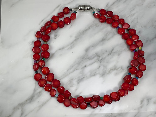 Red Coral and Hematite Necklace