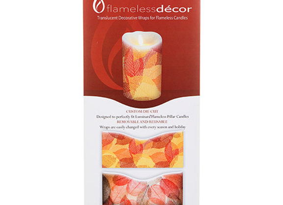 Flameless Decor Fall Leaves Candle Wrap