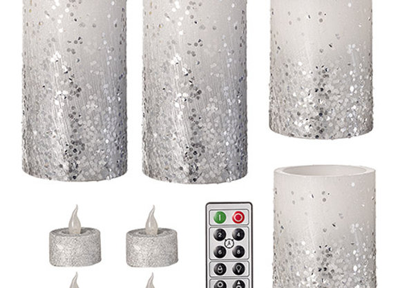 Glitter LED Candle Set - White/Silver