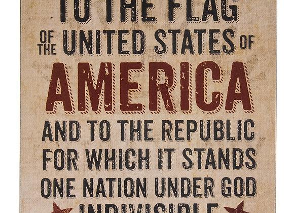 Pledge of Allegiance Box Sign