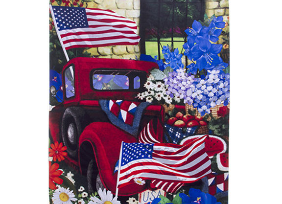 Patriotic Truck With Flowers Large Flag