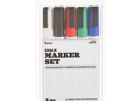 Fine Tip Chalk Marker Set: Basics, 5-pc