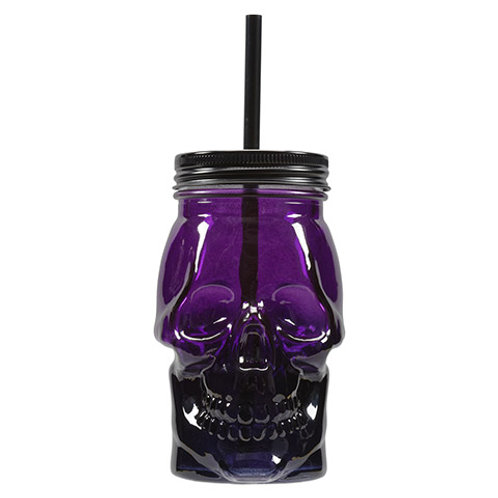 Skull Mason Jar: Purple/Black
