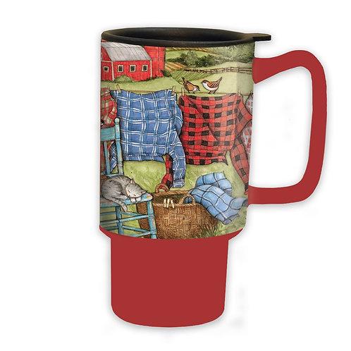 Favorite Flannel Ceramic Travel Mug