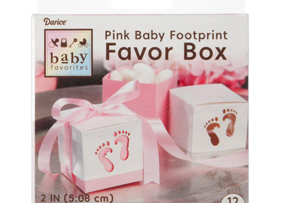 Favor Box - Baby Feet - Pink