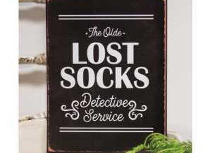 Lost Socks Distressed Metal Sign