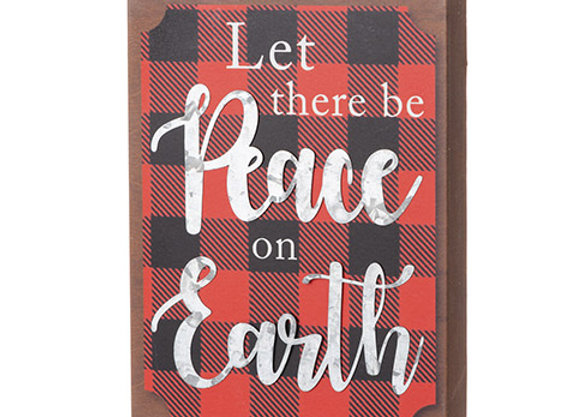 Peace On Earth Block Sign