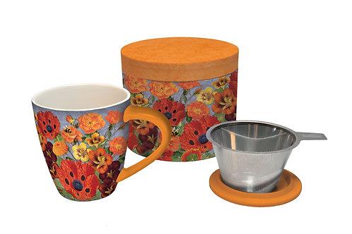 Pretty Poppies Tea Infusion Mugs