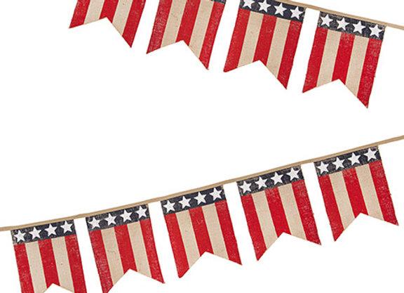 Rustic American Flag Burlap Pennant Banner