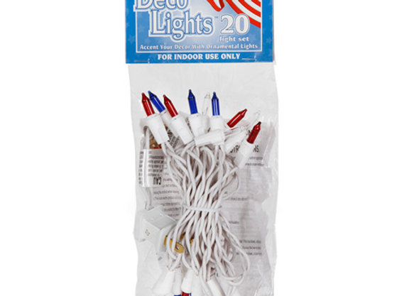 Patriotic Light Set - 20 Red, White and Blue Bulbs - White Wire