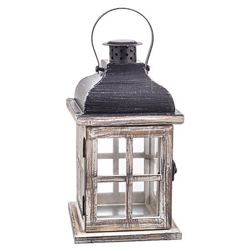 Whitewashed Brown Wood Lantern w/Iron Top