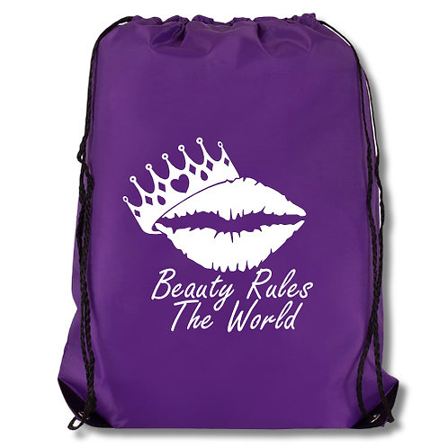 Lips and Crown Drawstring Bag
