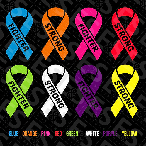 Strong and Fighter Ribbon Decal Set