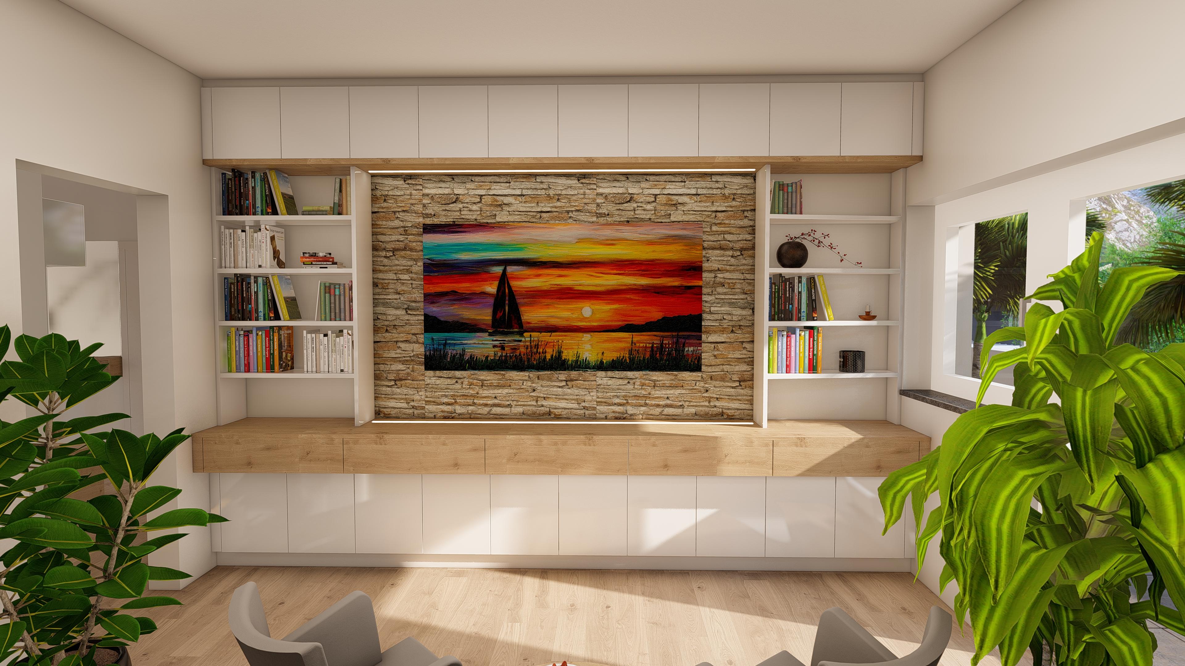 Wohnwand mit integriertem Bücherrega