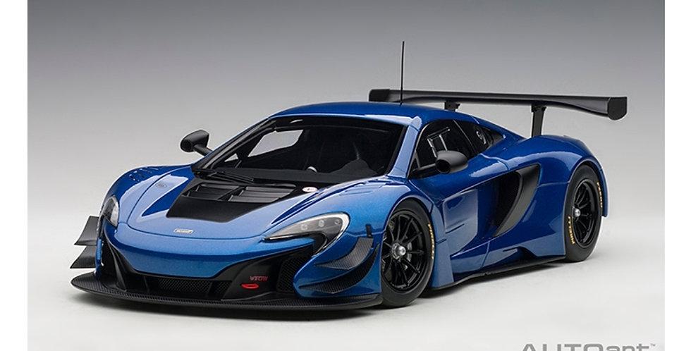 MCLAREN 650 GT3 AZURE BLUE/ BLACK ACCENTS AUTOART 1/18 MODEL