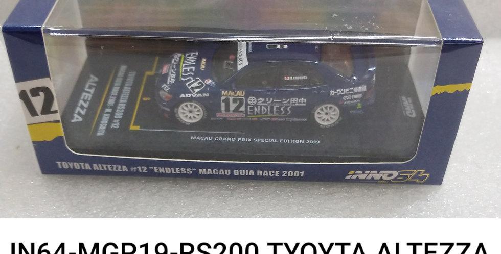 IN64 MGP 19 RS200 TOYOTA ALTEZZA ENDLESS MACAU GURA RACE 2001 1/64