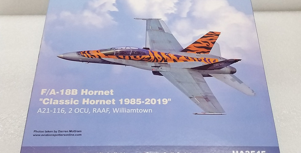 "HA3545 F/A-18B Hornet ""Classic Hornet 1985-2019"" A21-116, 2 OCU, RAAF, Williamto"