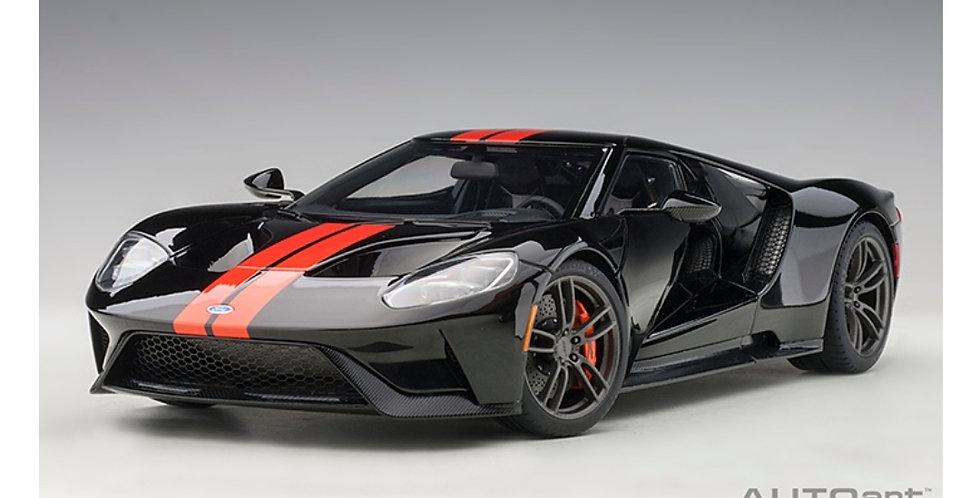 FORD GT 2017 SHADOW BLACK/ORANGE STRIPE AUTOART 1/18 MODEL