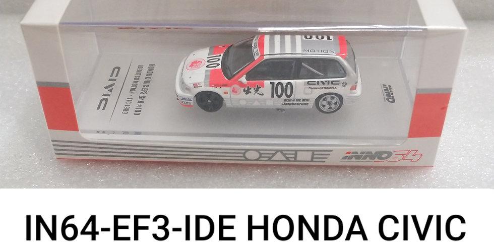 IN64 EF3 IDE HONDA CIVIC #100 IDEMITSU JTC 1989 1/64