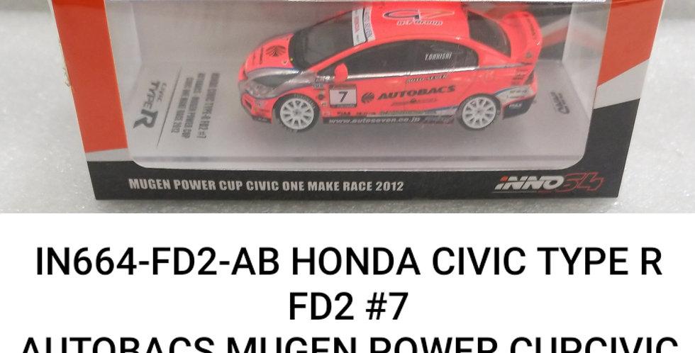 IN64 FD2 AB HONDA CIVIC TYPE R AUTOBACS MUGEN POWER 2012 1/64