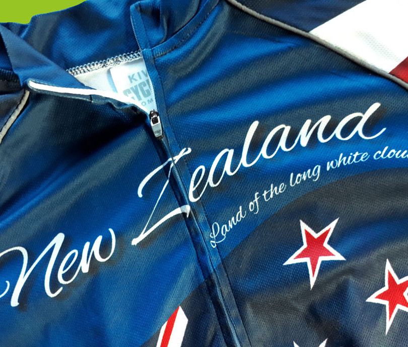 Quality manufacturing of Kiwi Cycling shirts