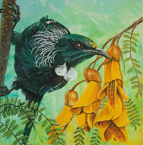 Greeting Card Square - Tui and Kowhai