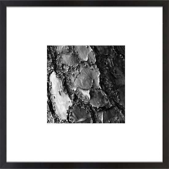 "Black and White Abstract I Print With 4"" Mat and Black or White Frame"