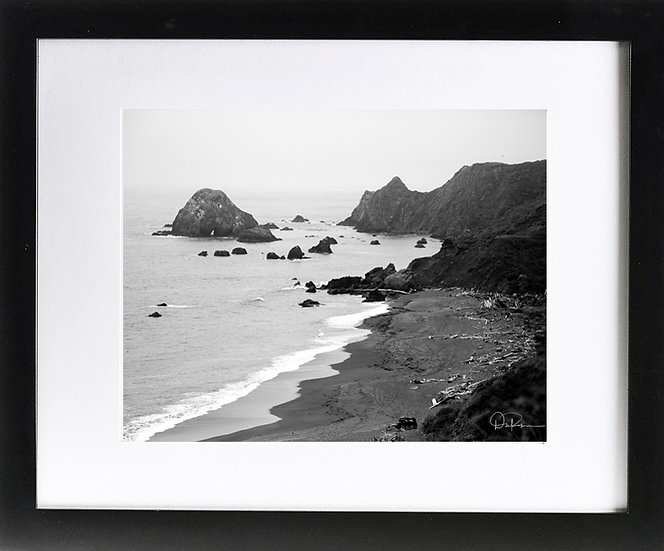 "California Coast II Print with 2"" Mat and Black Frame"