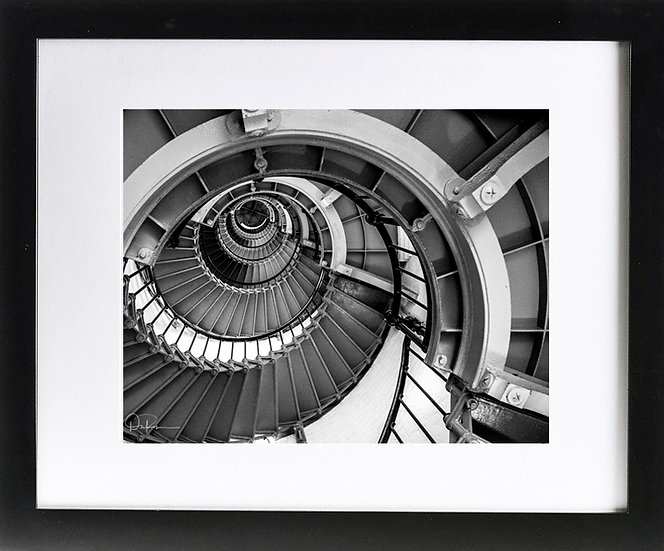 "Ponce Inlet Lighthouse Abstract Print with 2"" Mat and Black Frame"
