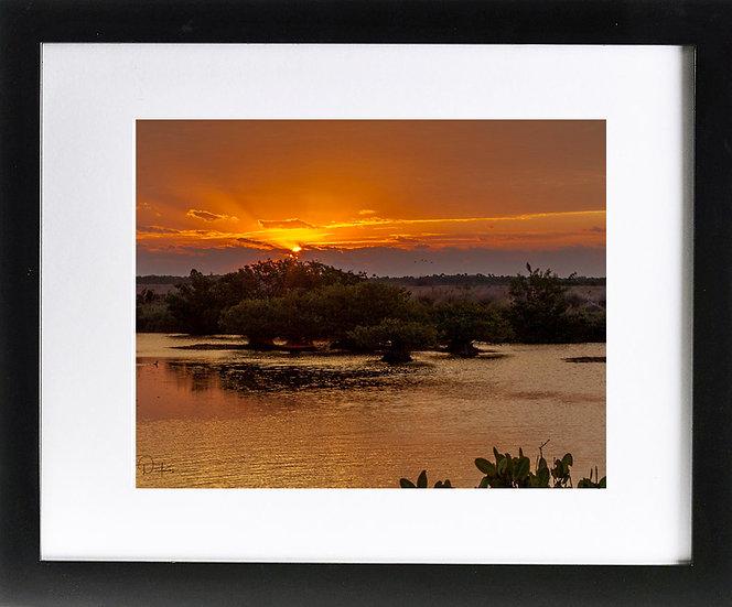 "Merritt Island National Wildlife Refuge Print With 2"" Mat and Black Frame"