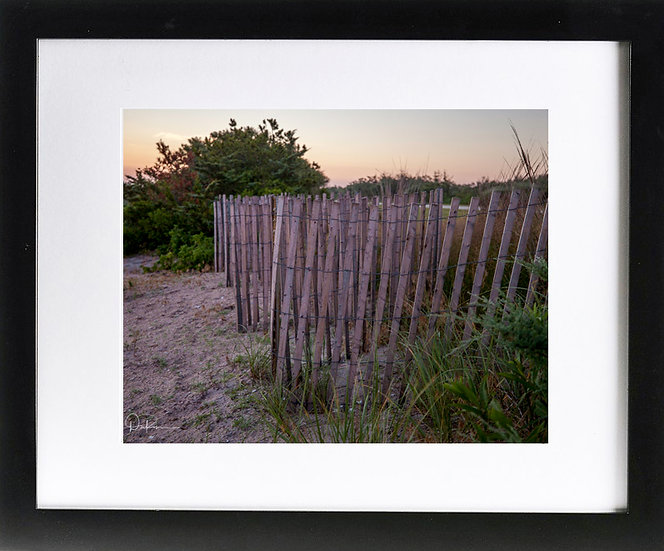 "Long Island Sunrise Print with 2"" Mat and Black Frame"