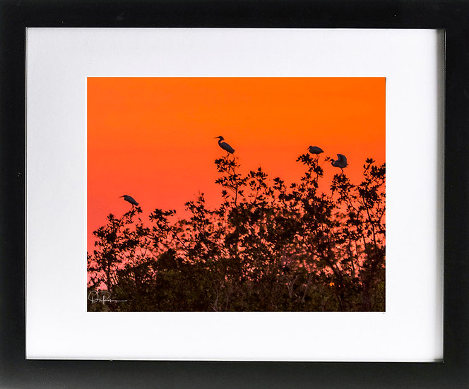 """Ten Thousand Islands Print with 2"""" Mat and Black Frame"""