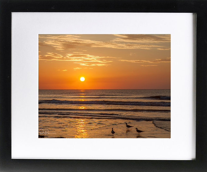 "Cocoa Beach Sunrise Print with 2"" Mat and Black Frame"