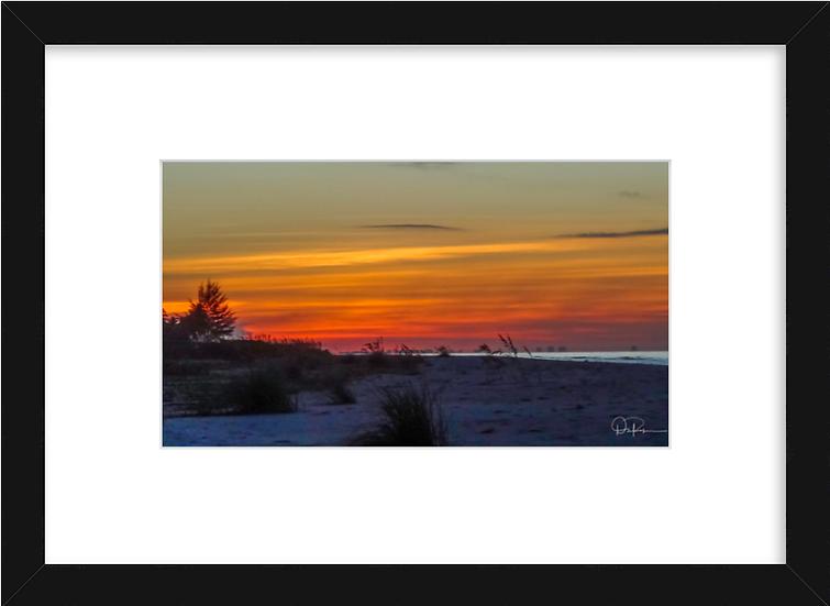 "Sanibel Sunset Print with 2"" Mat and Black Frame"