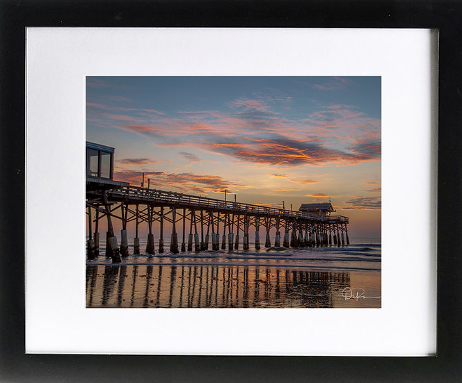 "Cocoa Beach Print with 2"" Mat and Black Frame"
