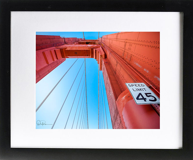"Golden Gate Bridge Abstract Print with 2"" Mat and Black Frame"