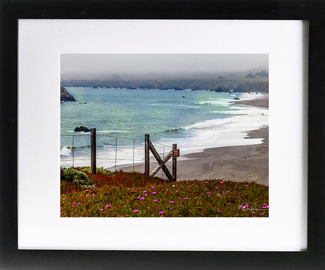 "California Coast I Print with 2"" Mat and Black Frame"