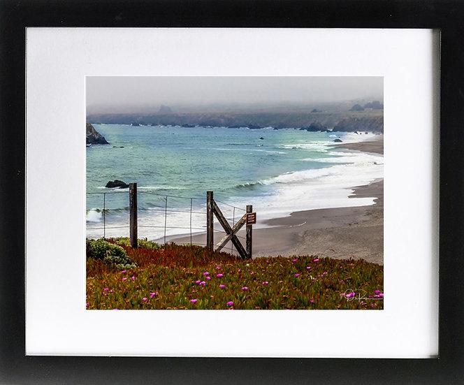 "California Coast I Print with 2"" Mat and Black Frame"