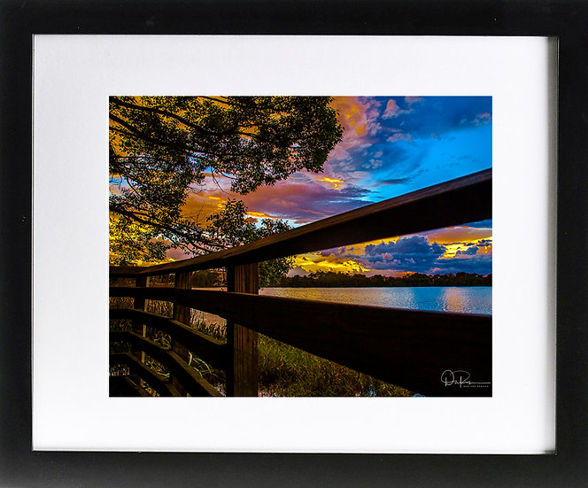 "Lake Ivanhoe Print With 2"" Mat and Black Frame"
