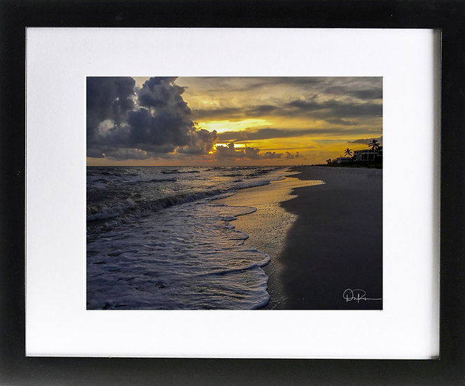 "Sanibel Sunrise Print with 2"" Mat and Black Frame"