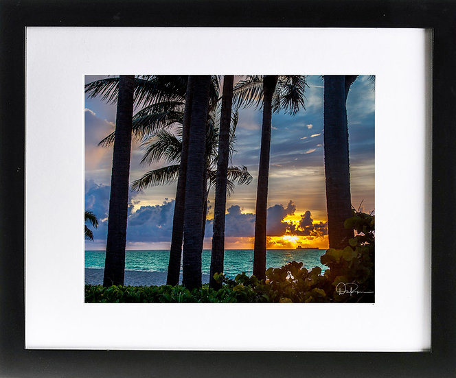 """Ft. Lauderdale III Print with 2"""" Mat and Black Frame"""
