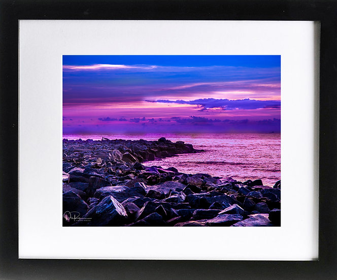 "Jetty Park II Print With 2"" Mat and Black Frame"