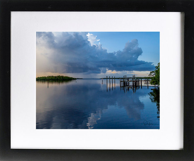 "Captiva Island Print with 2"" Mat and Black Frame"
