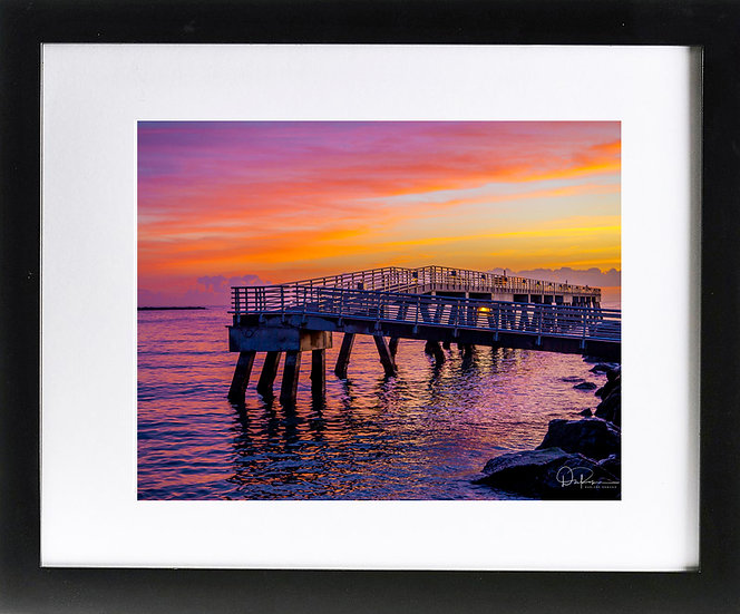 """Jetty Park I Print With 2"""" Mat and Black Frame"""