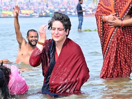 Priyanka Gandhi takes dip in Sangam on Mauni Amavasya, offers prayers.