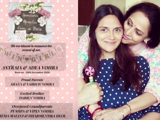 Hema Malini, Dharmendra become grandparents again as daughter Ahana gives birth to twin girls